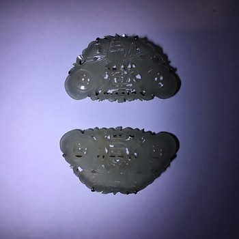 White Jade brooches pair - Fine Jewelry