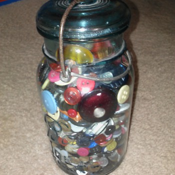 jar with buttons  - Sewing
