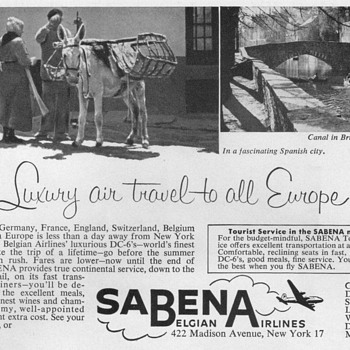 1953 - Sabena Belgian Airlines Advertisement - Advertising