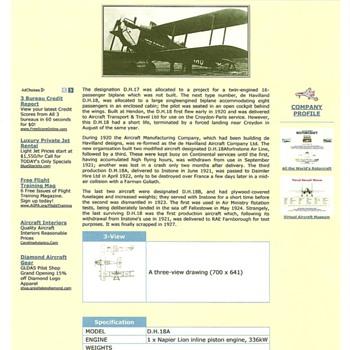 """""""Modern Passenger Aeroplane"""" (1920 DH 18) - Advertising"""