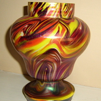 Welz #3 - satin flashed- Marbled  - Art Glass
