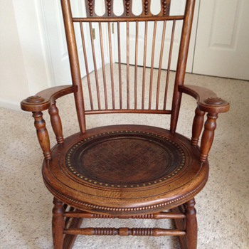 Fryeburg, Maine Antique Oak with Leather Seat & Matching Child's