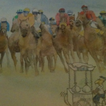 Funny painting horse racing with ice cream by Derek laidlaw - Visual Art