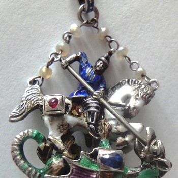 HUGE ANTIQUE ENAMEL ST GEORGE the DRAGON SLAYER STERLING NECKLACE cobalt enamel