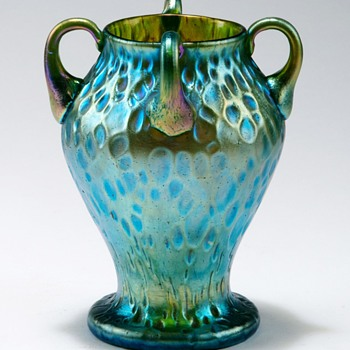 Loetz Handled Diaspora Vase. - Art Glass