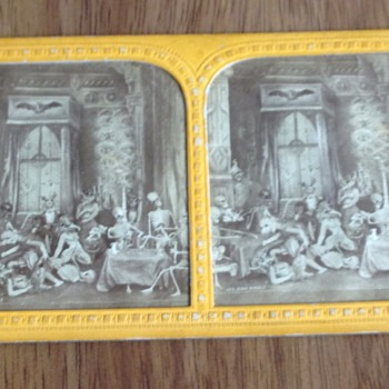 Antique French Tissue Stereoview Diableries Photos