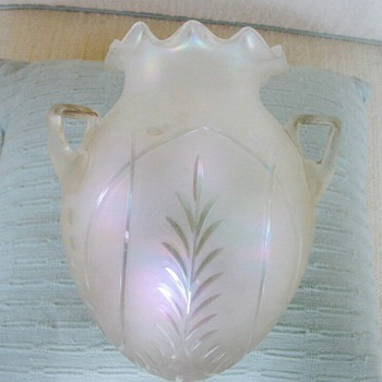 Bohemian Carl Hosch Etched Ruffled Verre de Soie 3 Handled Hanging Vase - Art Glass
