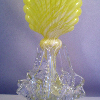 1895 Bohemian embossed or ribbed glass vase or fairy lamp base Ruckl - Art Glass