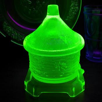 A few Uranium Glass Pieces - Glassware