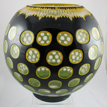 Large Spherical Double Overlay Cut Glass Vase - Who Made It? - Art Glass