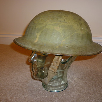WWI British steel helmet, re issued early WWII
