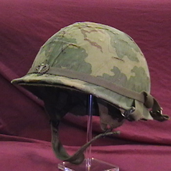 1966 U.S. Army Jump Helmet with Camouflage Cover - Military and Wartime