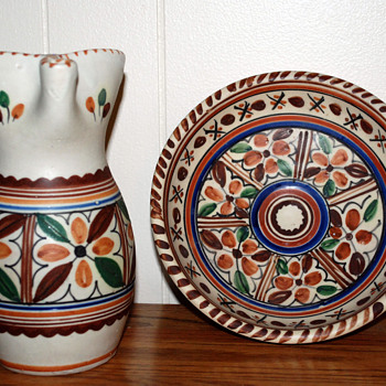 Art Pottery Pitcher and Plate