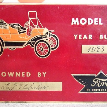 1923 model T ford model plate.
