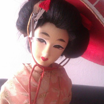 Old geisha doll silk face - Dolls