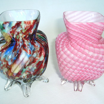 Small Welz Ribbed Vases.....Five Clear Feet