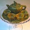 Spinach Jade Miniature Tea Set / Circa 20th Century