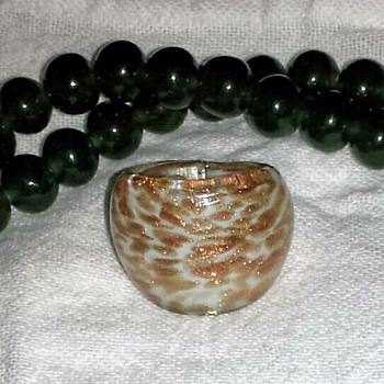 Glass Bead Necklace and Glass Ring - Costume Jewelry