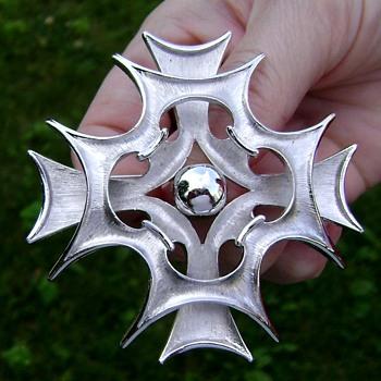 Trifari Maltese Cross Brooch Silver Tone - Costume Jewelry