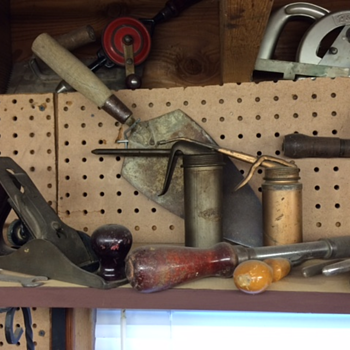 Dad and Granddad's tool shelf