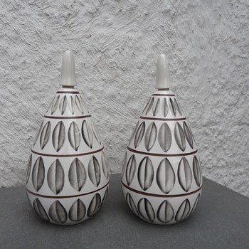 Pair of Ceramic Painted Bottles with Stoppers - Art Pottery