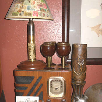 Trench Art Lamp and Glasses - Military and Wartime