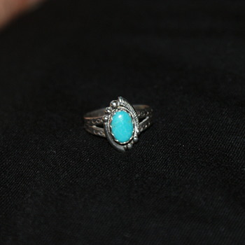 Small Native American Sterling and Turquoise Ring