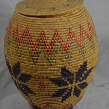 Alaskan Native Basket with Lid and Rich Colors