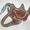 LIKE-ABLE Swan Slag Glass Bowl 70s Orange Blue Grey Mix