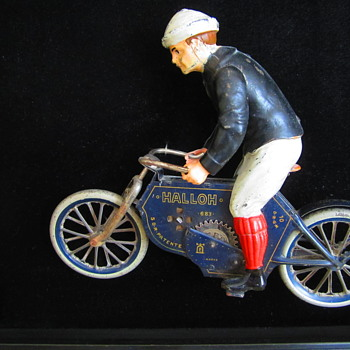 Antique Lehmann Halloh Tin Toy Windup Motorcycle