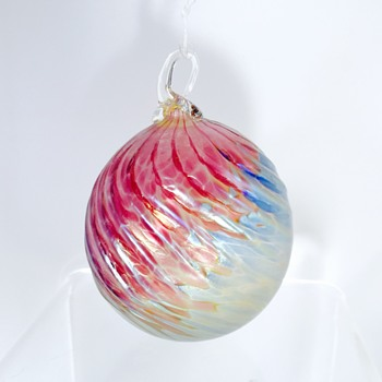 Vintage Iridescent Pink Blue Swirl Ornament Ball.  Help.  - Art Glass