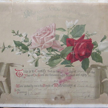 1887 frame able Marriage notice for Civil War Vet