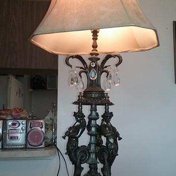 antique lamp 3 seahorsemen blowing trumpets marble base - Lamps