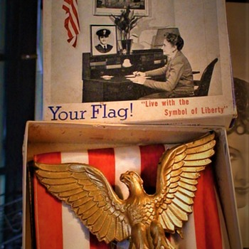 """Happy Memorial Day!"" 1943 Your Flag! Flag in Every Home Committee 48 Star Flag & Eagle Set"