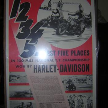 1947 Harley Davison Motorcycle Racing Poster
