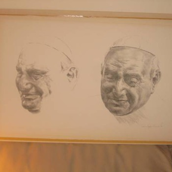 1950's Charcoal & Pencil Sketch of Pope John xxiii Exceptional Detail
