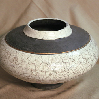 Large Wide Raku White Crackle Glazed Pot - Art Pottery