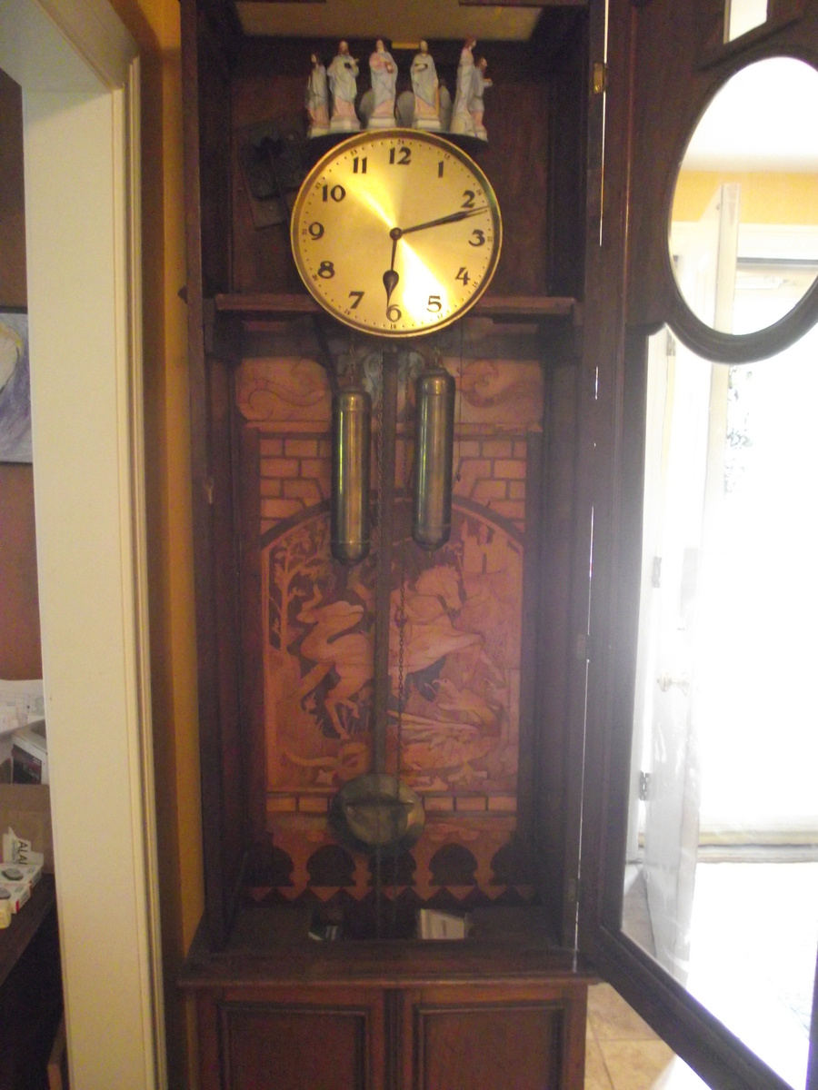 Antique German Floor Clock Backdrop St George Slaying