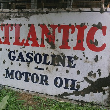 HUGE PORCELAIN SINGLE SIDED ATLANTIC GASOLINE &amp; MOTOR OIL SIGN