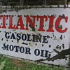 HUGE PORCELAIN SINGLE SIDED ATLANTIC GASOLINE & MOTOR OIL SIGN