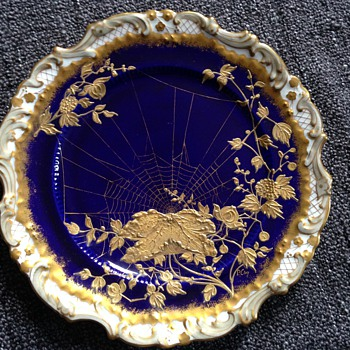 Unusual Handpainted Blue & Gold Spiderweb Adderley Plates
