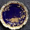 Unusual Handpainted Blue & Gold Spiderweb Adderley Plates