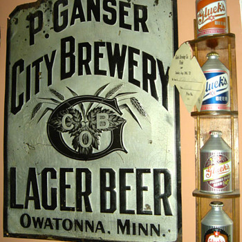 Peter Ganser Brw'g. tin sign-Owatonna,MN.