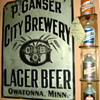 Peter Ganser Brw&#039;g. tin sign-Owatonna,MN.
