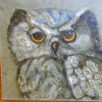 Elizabeth Hoey,Ceramic Tile,Eastern Screech Owl, Circa 1970