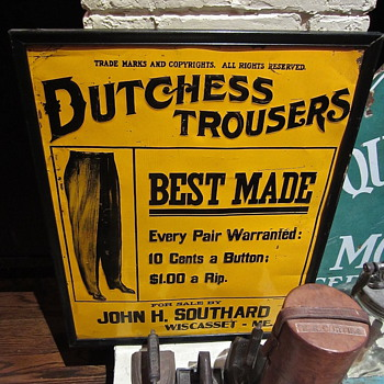 Dutchess Trouser embossed metal sign 1920s era