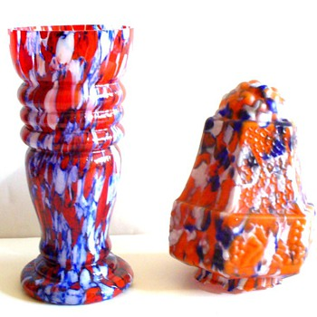CZECH SPATTER GLASS: GLOSSY, SATIN,MOSAIC. CASED - Art Glass