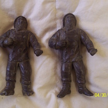 "6"" FISHERMAN FIGURINES, VERY OLD"