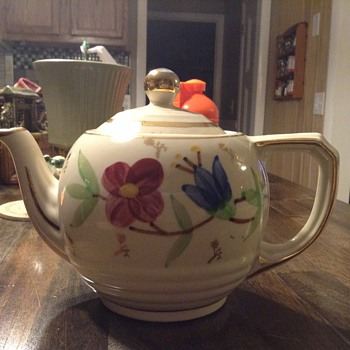 Floral Teapot with Gold Trim