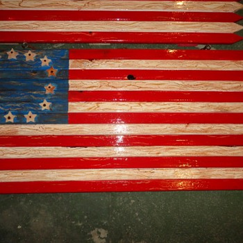 Americana Wooden Flag. Very Nice! - Folk Art